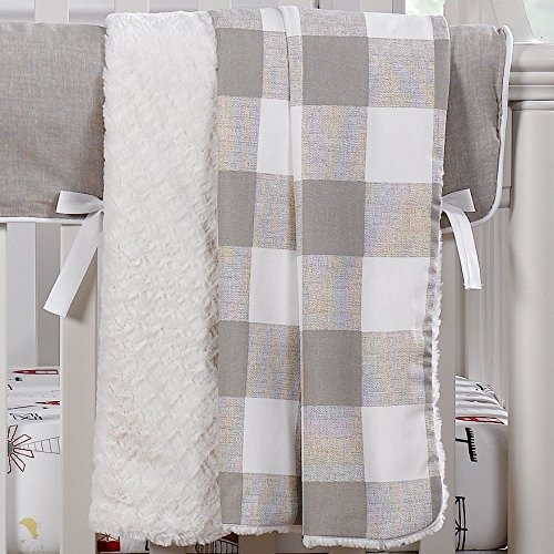 Price comparison product image Liz and Roo Buffalo Check Minky Receiving Blanket,  Taupe