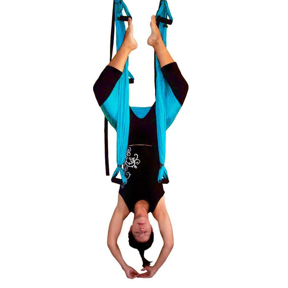 Yoga Swing/Trapeze,Yoga Inversion Sling Swing,Aerial Anti-Gravity Yoga Hammock Swing Trapeze Fitness Inversion Pilates (Blue)