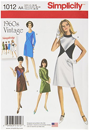 Simplicity Creative Patterns US1012AA Misses and Miss Plus 1960S Vintage Dresses, Size AA (10-12-14-16-18) 60s Sewing Patterns