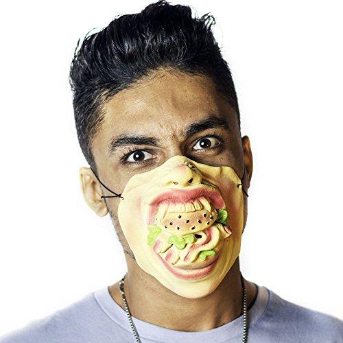 The Mask Biz Burger Eating Hamburger Face Cute Head Head Mask Latex