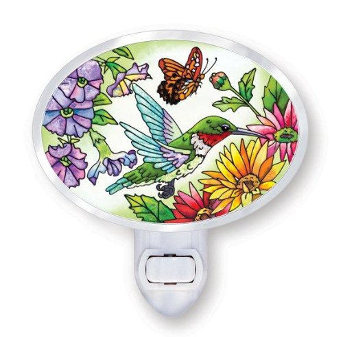 Amia Beveled Glass Night Light with Hand-Painted Hummingbird Design, Rotating Plug (Garden Design Stained)