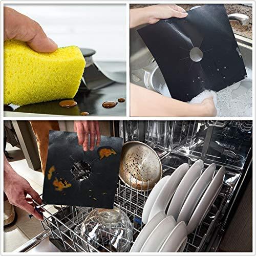 TAOPE Lot de 8 housses de protection pour brûleur à gaz réutilisables anti-adhésifs et résistants à la chaleur Noir 26,9 x 26,9 cm