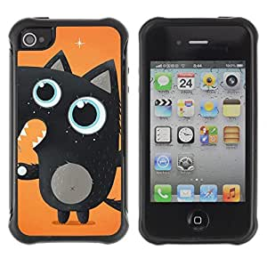 Hybrid Anti-Shock Defend Case for Apple iPhone 4 4S / Cute Black Fox