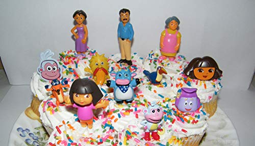 Nickelodeon Dora The Explorer Deluxe Set of 10 Cake Toppers Cupcake Toppers Party Decorations with Dora, Boots, Tico, Mom, Grandma, Backpack, Swiper and More! for $<!--$7.95-->