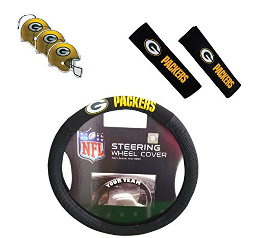 Official National Football League Fan Shop Authentic Auto Accessories Bundle (Green Bay Packers)