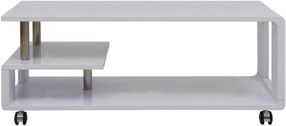 Festnight Table Basse Haute Brillance avec 4 roulettes 110 x 55 x 43 cm