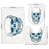 3 Piece Bathroom Mat Set,Skull,Hand Drawn Human Skull with Science Elements Background Medical Theme Illustration,Blue White,Bath Mat,Bathroom Carpet Rug,Non-Slip