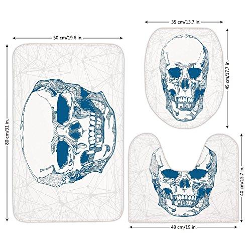 3 Piece Bathroom Mat Set,Skull,Hand Drawn Human Skull with Science Elements Background Medical Theme Illustration,Blue White,Bath Mat,Bathroom Carpet Rug,Non-Slip by iPrint