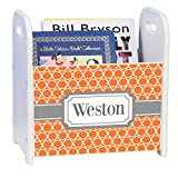 Personalized Orange Rings w Gray White Book Caddy and Rack