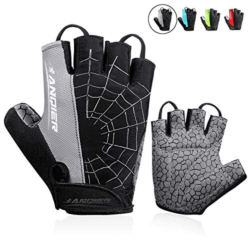 anqier Cycling Gloves Men Women Bike Gloves Mountain Biking Gloves with Anti-Slip Shock-Absorbing Pad Breathable Half Finger Workout Gloves Riding Sports Road Bicycle Gloves