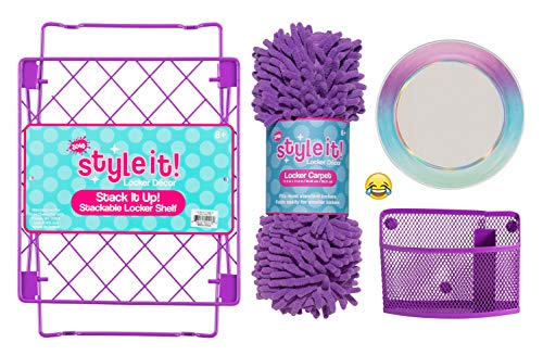 School Locker Organizer Kit - Accessories and Decoration Set with Shelf, Rug, Mirror and Bin (Purple Ombre Solid)