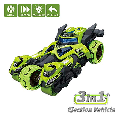Domoey 3 in 1 Toy Cars&Toy Vehicles【Upgraded Version】,Includes 1 Pull Back Car Toy and 2 Ejected Motorcycle Toys, Race Car Model with Fun LED Lights&Sound Effects, Creative Birthday Gift for Kids (Motorcycle Race Game)