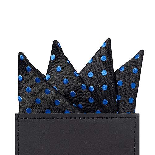 - DEVPSISR Polka Dots Prefolded Pocket Square, Men's Suit Handkerchief Keeper (A Black,Blue Dot)