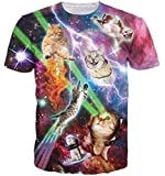 HWHColor Men Women Laser Eyes Cats T Shirt Galaxy Graphic Tee,Cat15,Asia XXL - US L