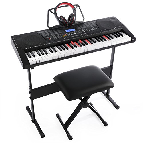 Joy KL-91M With USB & 61 Lighted Keys Simulation Piano Keyboard Starter Pack Including Headphone,Stand,Stool and Power Supply by Joy
