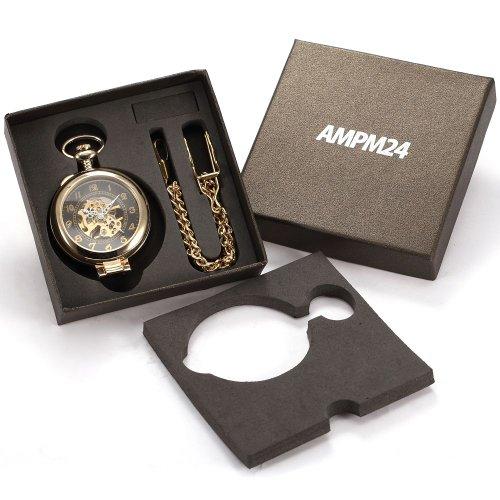 AMPM24 Unique Golden Magnifier Skeleton Mechanical Men's Pocket Watch Chain Gift WPK022 by AMPM24 (Image #4)