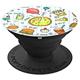 Junk Food Doodles Pizza Soda Hamburger Fries - PopSockets Grip and Stand for Phones and Tablets