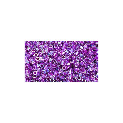 Miyuki Delica Hex Seed Bead 11/0 DBC0056, Magenta Line Aurora Borealis Finish, 9-Gram/Pack ()