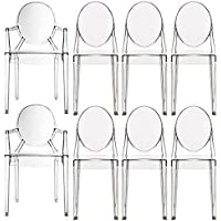 2xhome – Set of Eight (8) Dining Chairs - (6) Modern Designer Victoria Ghost Style Chairs and Two (2) Louis Ghost Armchairs W/arm - Armless Victoria Ghost Side Chairs Polycarbonate Plastic