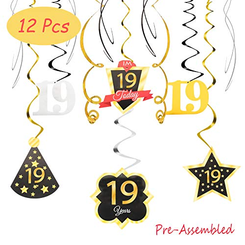 19 Birthday Decoration Happy 19th Birthday Party Silver Black Gold Foil Swirl Streamers I'm Nineteen Years Old Today Birthday Hat Gold Star Ornament Party Present Supplies]()