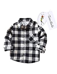 Little Girls' Long Sleeve Button Down Plaid Shirt Fleece Lined Black White 3T