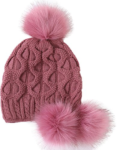 (YI HENG MEI Women's Thick Cable Knit Three Faux Fuzzy Fur Poms Skull Cap Cuff Beanie Hats, Pink Purle)