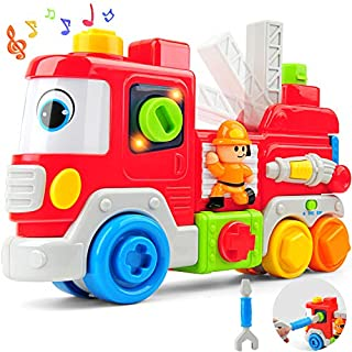 Gizmovine Fire Truck Toy for Boys with Lights and Music,Inertial Construction Toys Trucks for Kids Infant Toddler 1, 2 ,3 Year Old