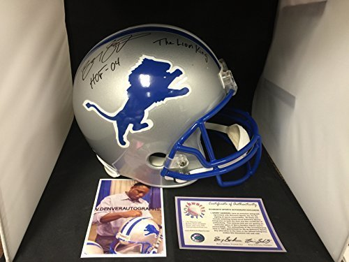Barry Sanders Signed Autographed Lions Full Size Helmet MULTI INSCRIBED Schwartz Sports Player Hologram & COA Card