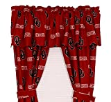 Oklahoma Sooners - Set of (2) Printed Curtain Valance/Drape Sets (Drape Length 63'') To Decorate Two Windows - Save Big By Bundling!