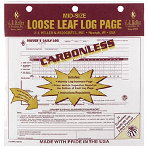 Daily Drivers Carbonless Log Duplicate (Have one to sell? Sell now J.J. Keller - Duplicate Mid-Size Loose-Leaf Driver's Log, Carbonless-pack of 12)