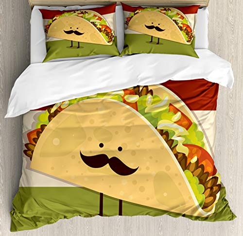 Ambesonne Food Duvet Cover Set, Mexican Taco with Mustached Face Rolled with Veggies Humor Comic Childish Art, Decorative 3 Piece Bedding Set with 2 Pillow Shams, Queen Size, Paprika Green