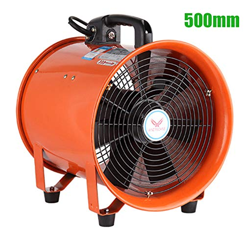 20 Inches / 500mm Portable Industry Ventilation Axial Blower Workshop Dust Fume Air Extractor Fan, Air Volume: 145m³/h, Frequency: 60HZ, RPM 1720 r/min, 1100W ()