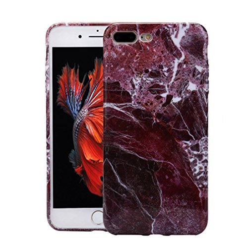 Price comparison product image Voberry Marble Texture Print Cover Case Skin For iPhone7 Plus 5.5Inch (Red)