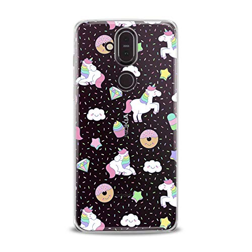 Lex Altern TPU Case for Nokia 9 PureView 8.1 Plus 7.1 6.1 X6 5.1 3.1 White Unicorn Cute Pink Clear Donuts Cover Silicone Durable Print Protective Girl Design Transparent Women Teen Flexible Pattern ()