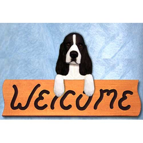 Michael Park English Springer Spaniel Black Welcome Sign Maple