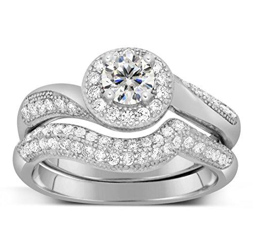 Antique Designer 2 Carat Round Diamond Bridal Ring Set for Her in White Gold ()
