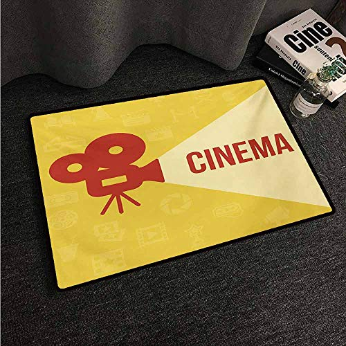 HCCJLCKS Outdoor Doormat Movie Theater Projector Silhouette with