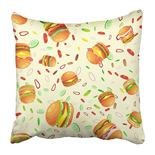 (Emvency Decorative Throw Pillow Covers Cases Tasty Burger Grilled Beef Fresh Vegetables Dressed Sauce Bun Snack American Hamburger 16x16 inches Pillowcases Case Cover Cushion Two)