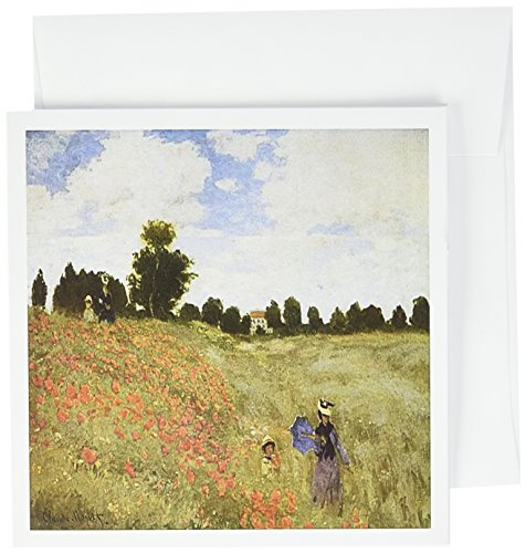 3dRose Painting Of Poppy Fields By Monet - Greeting Cards, 6 x 6 inches, set of 6 (gc_49351_1)