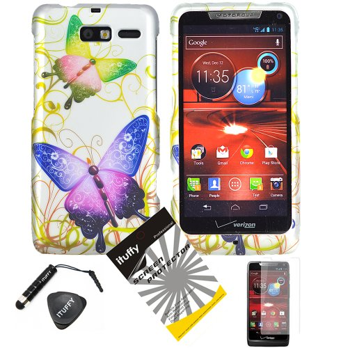 4 items Combo: ITUFFY (TM) LCD Screen Protector Film + Stylus Pen + Case Opener + Silver Green Purple Butterfly Paisley Flower Vine Design Rubberized Snap on Hard Shell Cover Faceplate Skin Phone Case for Verizon Motorola Droid RAZR M XT907 and Motorola Luge 4G LTE phone model only!