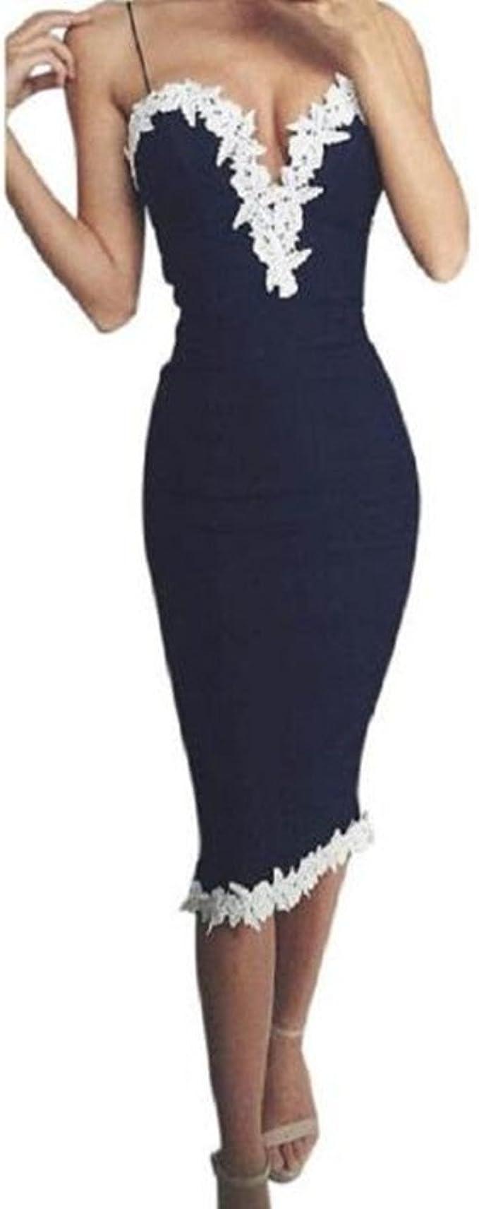 Damen Kleider, GJKK Damen Elegant Bodycon Enges Kleid Neckholder  V-Ausschnitt Blumenspitze Abendkleid Ärmellos Partykleider Damen Langes  Kleid