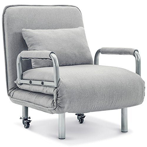 Harper&Bright Designs Convertible Sofa Bed Lounge 5 Position Folding Futon Sleeper Leisure Recliner Lounge Couch (Grey)