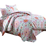 AMWAN Floral Patchwork Flower Printed Quilt Coverlet Set Queen Full Cotton Printed Quilt Bedspread Set Reversible Striped Quilt Comforter Set 3 Piece Luxury Girls Quilt Set 2 Pillowcases, Style5