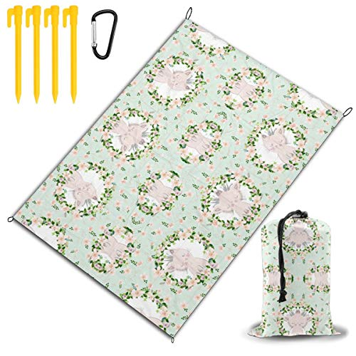 GHDSKH 8' Kitty in Paris Green Wallpaper (517) Beach Blanket Sand Proof and Waterproof Pocket Sized Picnic Mat Outdoor Beach Mat for Camping, Travel, Hiking, Festival and Sports