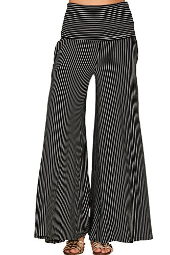 Annabelle Women's Highwaisted Fold Over Palazzo Stripe Prints Pants With Side Pockets Black Ivory Medium P9047 - Wide Leg Palazzo Pants