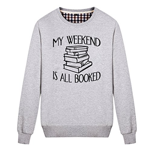 Mus-tang Unisex My Weekend Is All Booked Funny Book Reading Lover Sweatshirt (Grey X-Large)