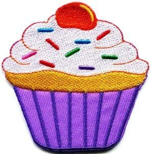 Dessert Cupcake Sweet Cherry Embroidered Iron On Applique Patch