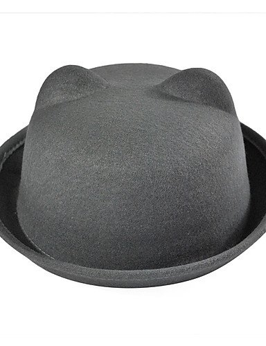 Cashmere Bear Vintage Hat Casual Wool Women Orecchiette Caps Flanging ONESIZE Dome Color BLACK Solid GSM wAZ0qHE