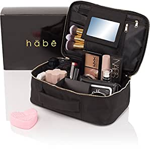 habe Travel Makeup Bag with Mirror - Fits ALL Your Makeup! Make Up Bag Organizer Train Case for Women - Storage Capacity of 3 Cosmetic Bags / Make Up Bags / Make Up Cases (BONUS Make-Up Brush Cleaner)