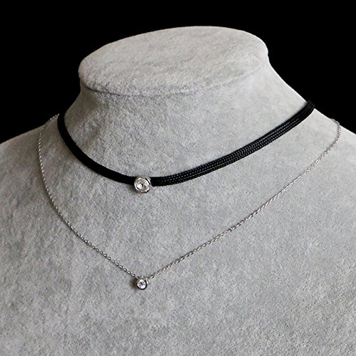 LOCHING Personality Elastic Black Cord Necklace Double Chain Necklaces Inlaid Zircon 925 Silver Double Collar Necklaces by LOCHING (Image #6)